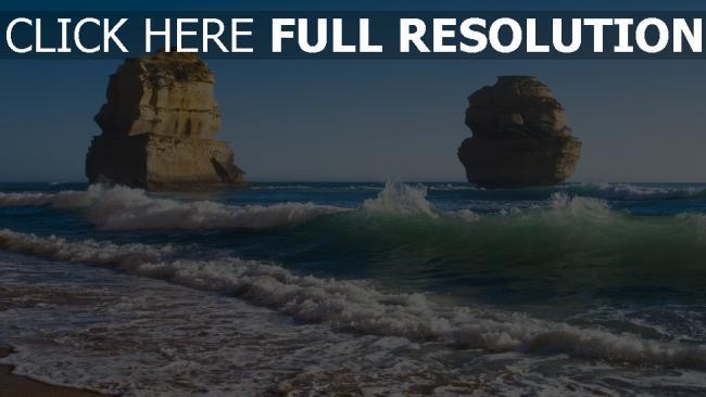fond d'écran hd vague roche mousse côte australie