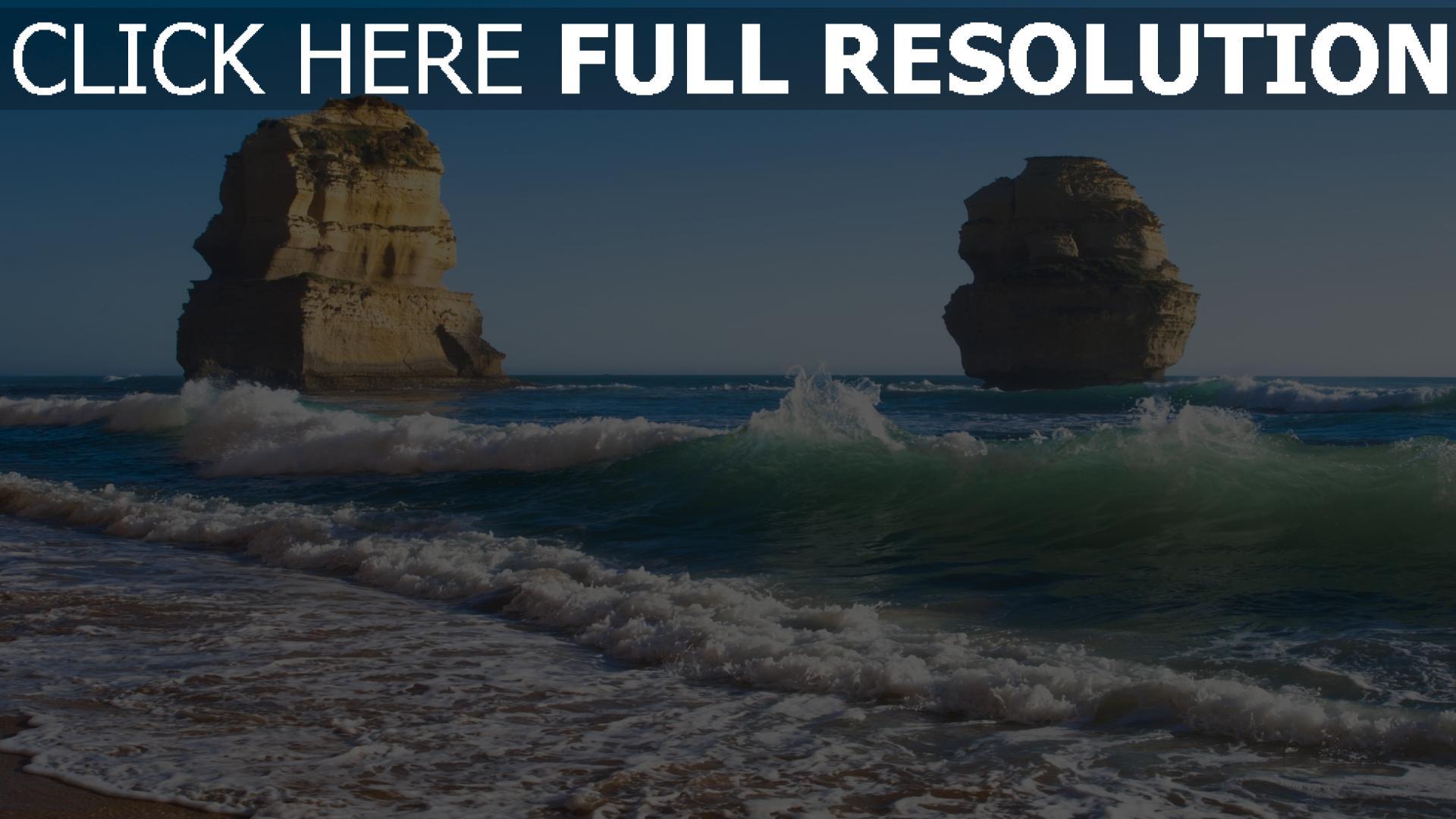 Télécharger 1920x1080 Full HD Fond d'écran vague roche mousse côte australie, Images et Photos