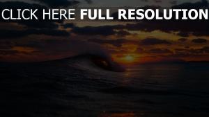 vague océan coucher du soleil merveilleux vue