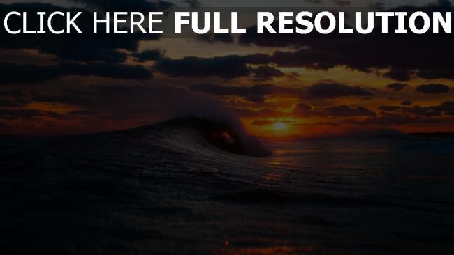fond d'écran hd vague océan coucher du soleil merveilleux vue