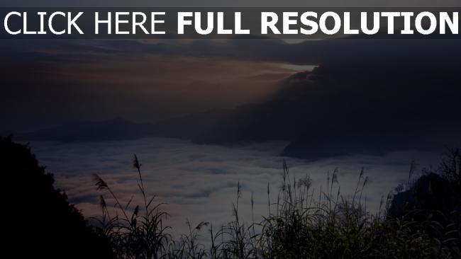 fond d'écran hd montagne nuageux roseau chine