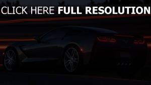 chevrolet corvette nuit surface brillante