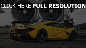 mclaren jaune voiture sportive de prestige turbine