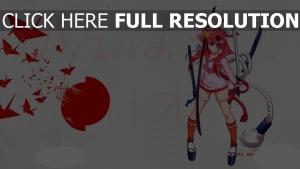 katana écolière rose cheveux longs