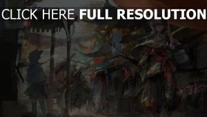 marché blond silhouette peinture