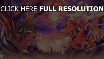 blond enchanteresse renard peinture