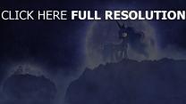 licorne nuit lune triste