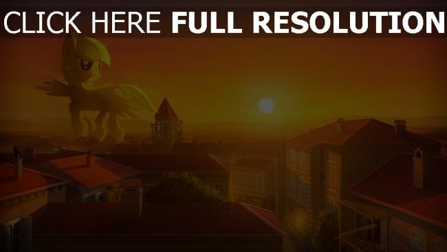 fond d'écran hd licorne gigantesque coucher du soleil toit