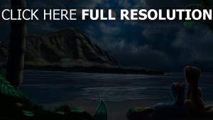 cheval coupé nuit plage romantique
