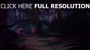 cheval triste pourpre forêt soirée