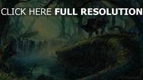 forêt bébé cheval rivière