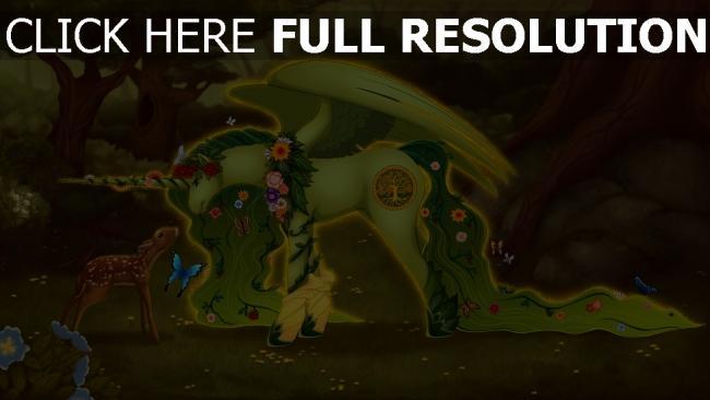 fond d'écran hd licorne cerf forêt