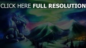licorne montagne hiver aurore polaire