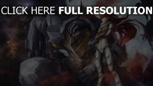 cyborg armure roux vue de face