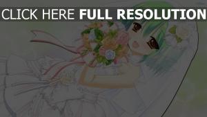 mariée robe cheveux courts bouquet