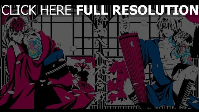 fond d'écran hd kimono tatouage pétale inscription parapluie