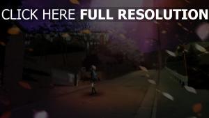 rue automne litière de feuilles nuit