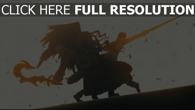 fond d'écran hd combat épée aile silhouette