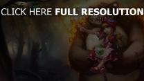 ours feu forêt petit chaperon rouge pomme