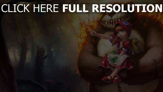 fond d'écran hd ours feu forêt petit chaperon rouge pomme