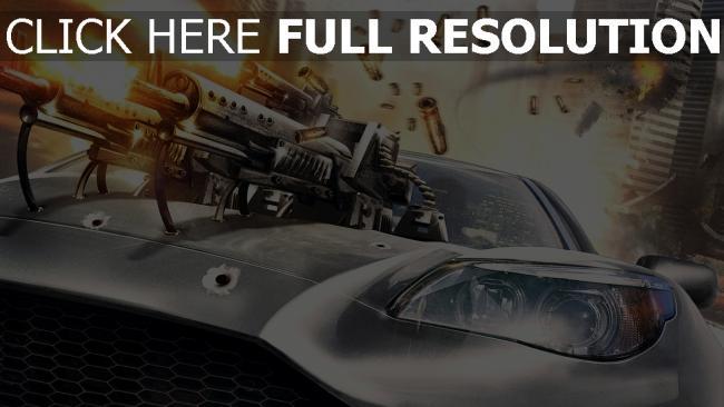 fond d'écran hd voiture de sport fusil d'assaut tirer
