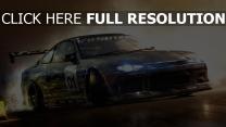 voiture de sport vitesse toyota fumée phares