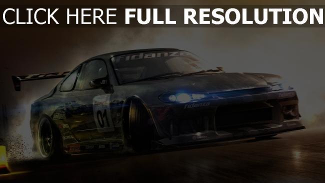 fond d'écran hd voiture de sport vitesse toyota fumée phares