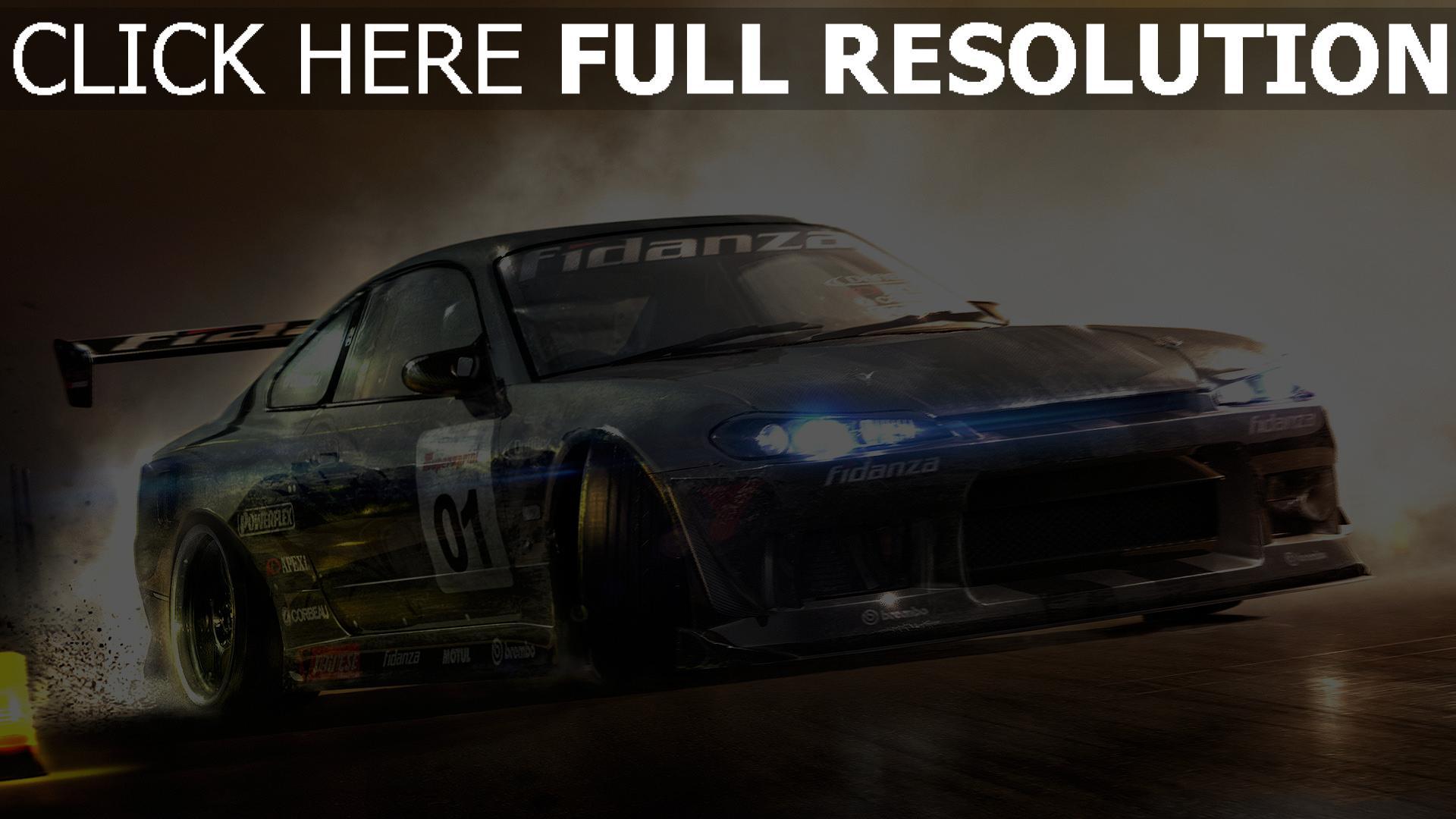 fond d'écran 1920x1080 voiture de sport vitesse toyota fumée phares