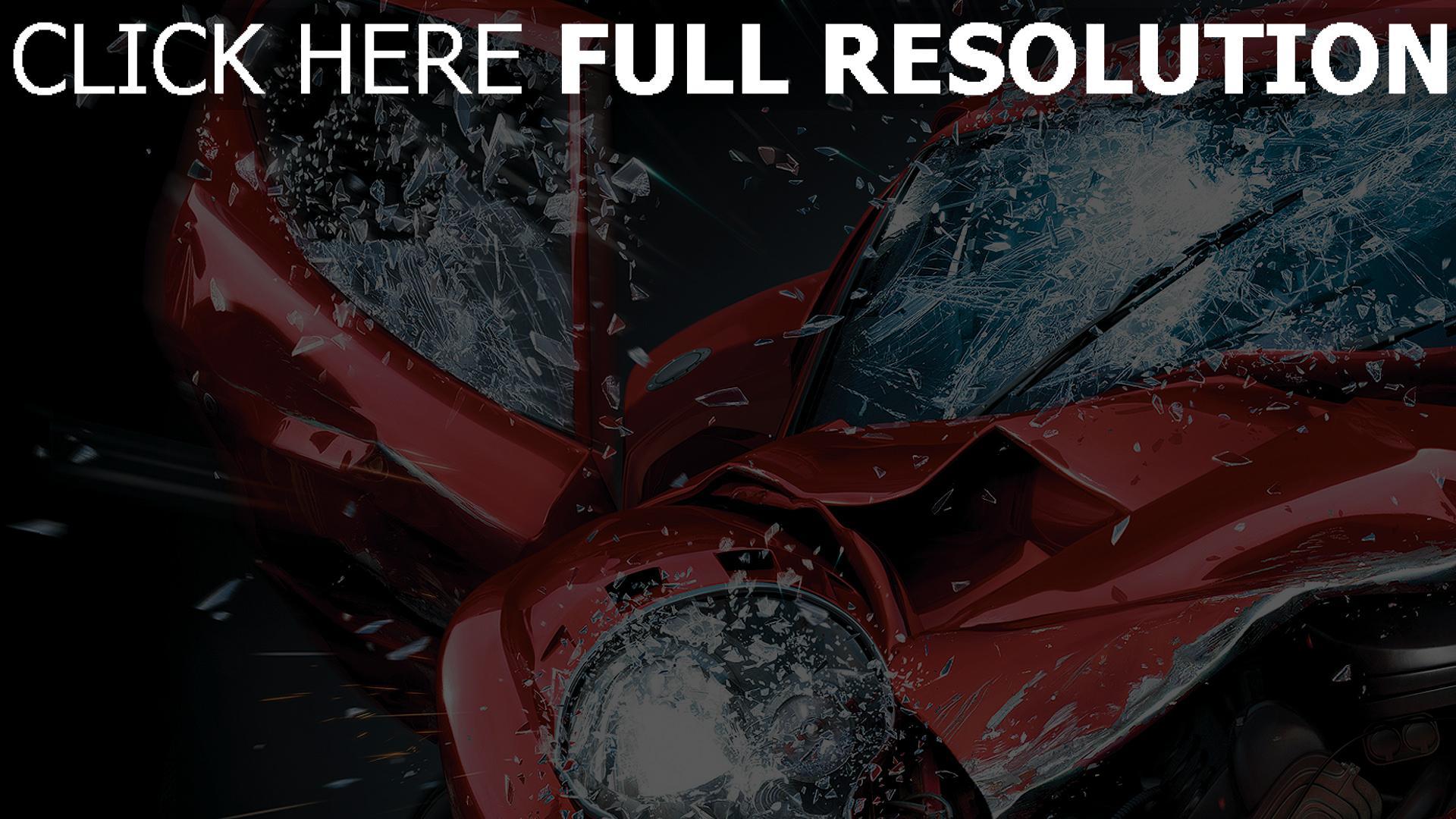 fond d'écran 1920x1080 voiture de sport collision éclaboussure pare-brise