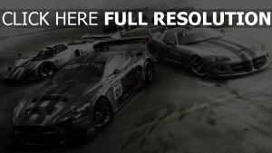 grid autosport voiture sportive de prestige vue d'en haut,