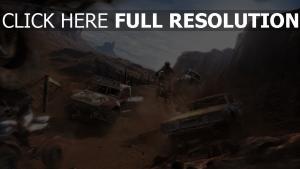 muscle car moto course desert poussière