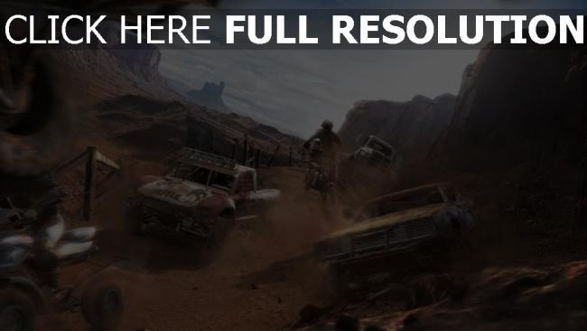 fond d'écran hd muscle car moto course desert poussière