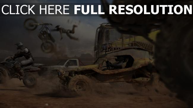 fond d'écran hd buggy moto desert vitesse