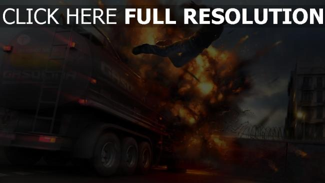 fond d'écran hd explosion camion nuit