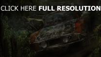 muscle car ruines tropical forêt