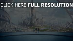 poursuite de demain silhouette mégalopole futuriste
