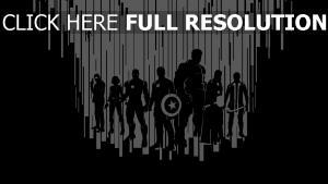 avengers graffiti silhouette noir et blanc