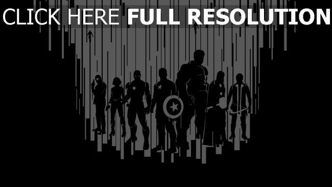 fond d'écran hd avengers graffiti silhouette noir et blanc