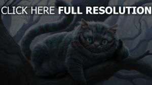 chat du cheshire sourire branche
