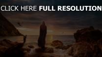 emilia clarke côte le trône de fer peinture coucher de soleil