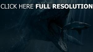 monde jurassique sous l'eau requin dinosaure