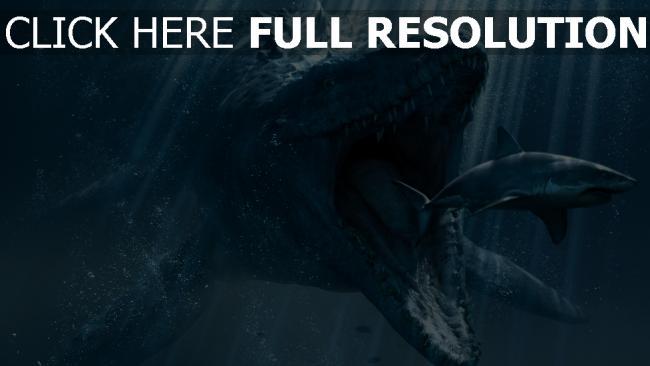 Fond D écran Hd Monde Jurassique Sous L Eau Requin Dinosaure