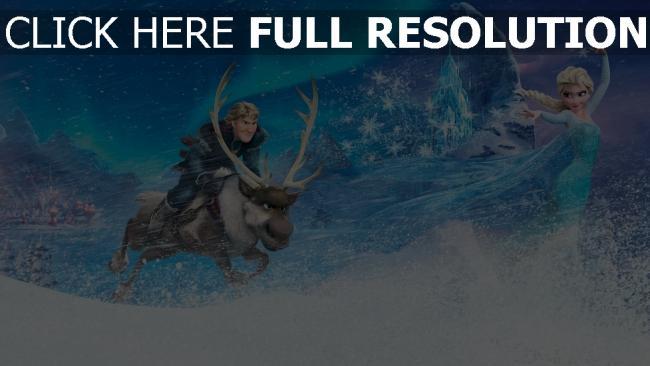 fond d'écran hd la reine des neiges kristoff elsa poursuite