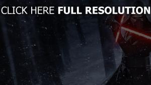 kylo ren pose de combat tempête de neige sabre laser