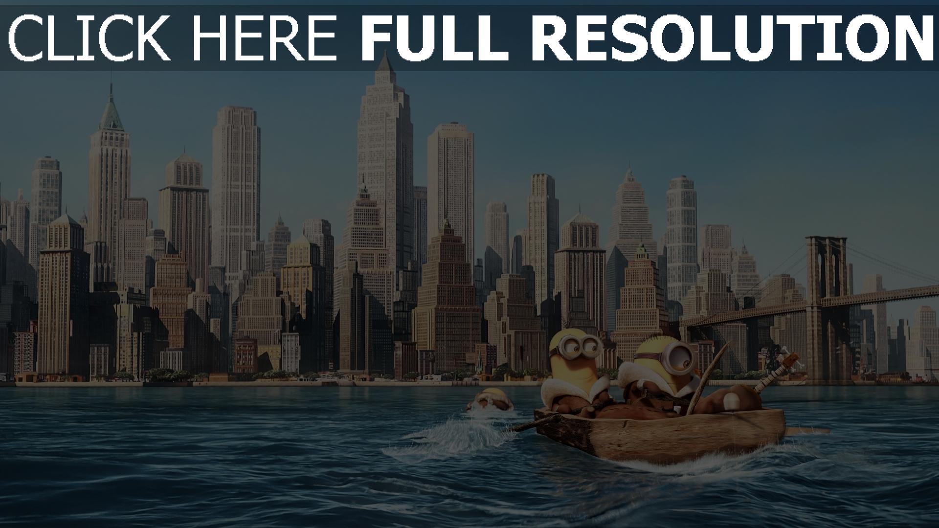 T l charger 1920x1080 full hd fond d 39 cran minions barque for Sfondi new york hd