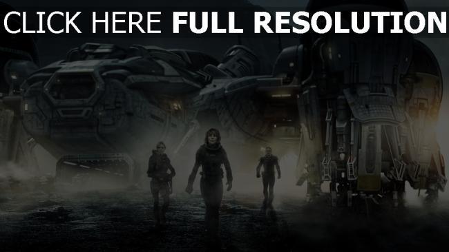 fond d'écran hd prometheus vaisseau spatial personnages principaux