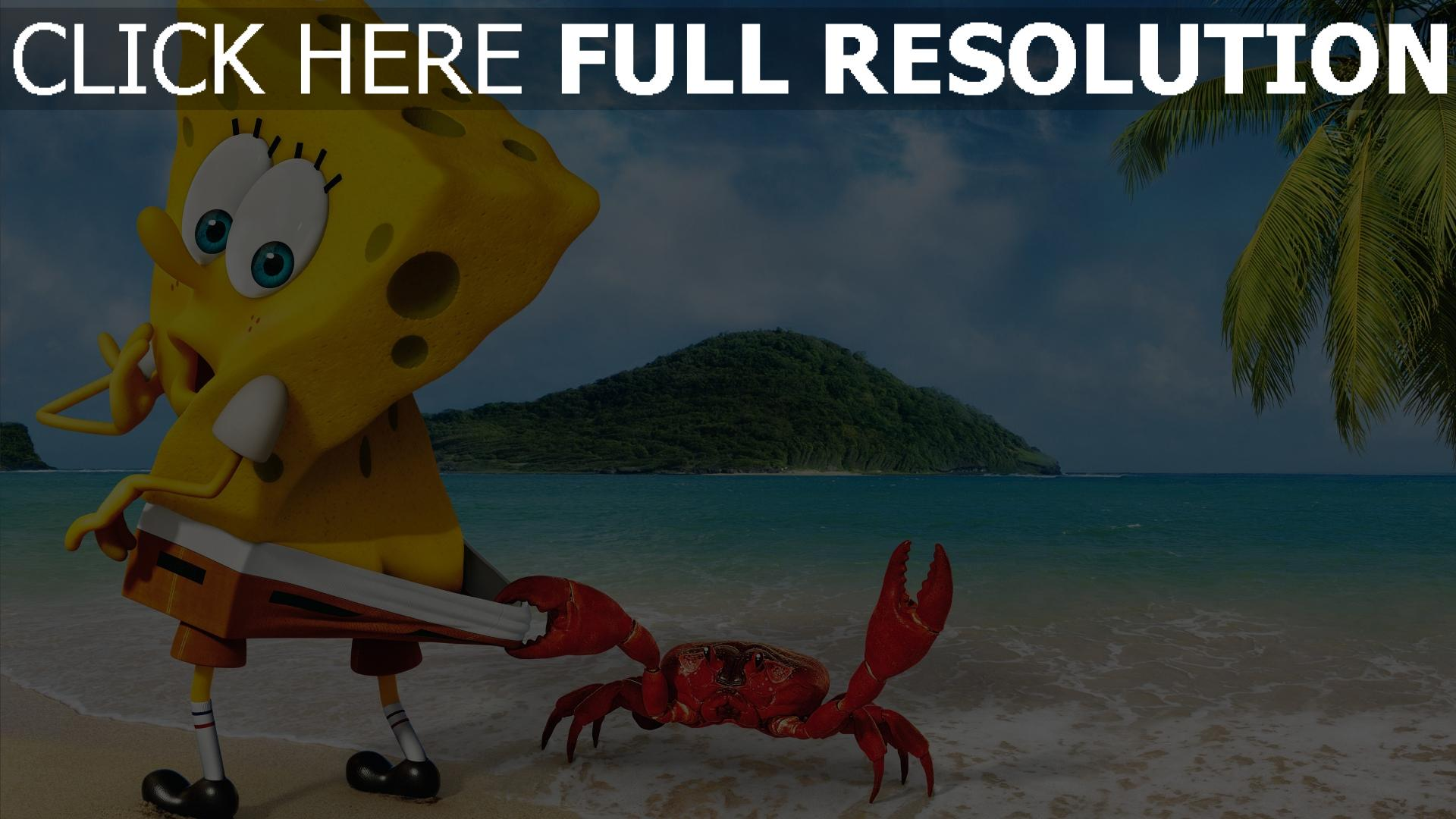 fond d'écran 1920x1080 bob l'éponge île crabe