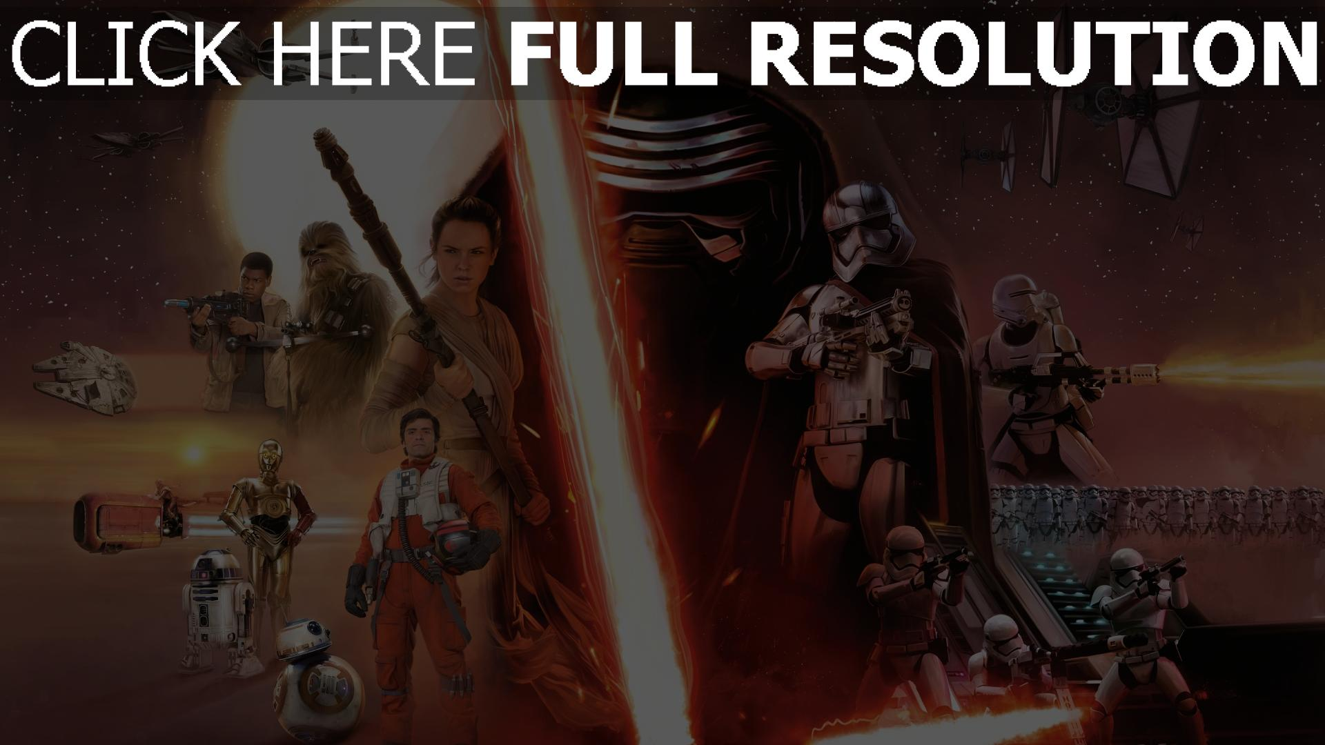 fond d'écran 1920x1080 star wars sabre laser personnages principaux