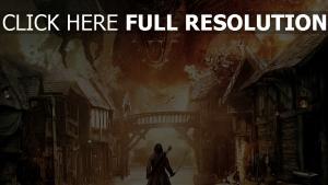 le hobbit feu dragon silhouette