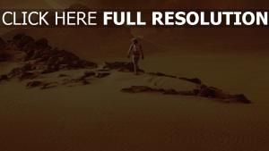 seul sur mars desert pierre silhouette